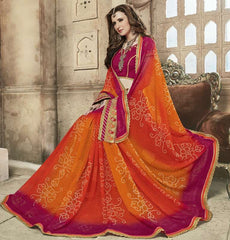 Orange & Magenta Color Georgette Bandhej Party Wear Sarees : Aniha Collection  YF-54704