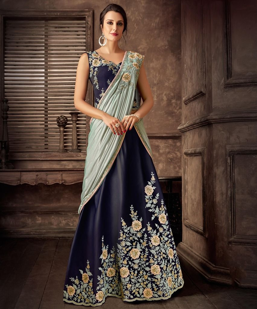 Blue & Aqua Blue Color Silk Designer Lehenga Sarees : Sadhik Collection  NYF-1731 - YellowFashion.in