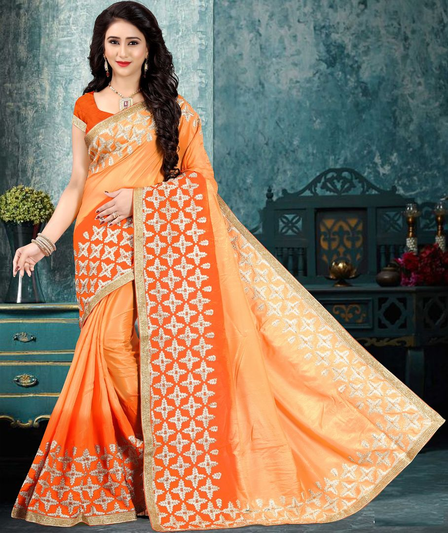 Light & Dark Orange Color Silk Party Wear Sarees : Pinati Collection  NYF-3379 - YellowFashion.in