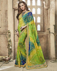 Shades Of Green Color Chiffon Bandhej Party Wear Sarees : Aniha Collection  YF-54705