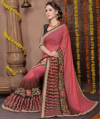 Pink & Brown Color Georgette Festival & Function Wear Sarees : Rohini  Collection  YF-37314