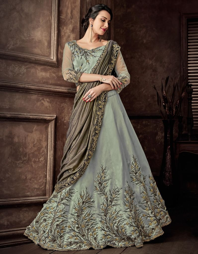 Sea Green Color Silk Designer Lehenga Sarees : Sadhik Collection  NYF-1733 - YellowFashion.in