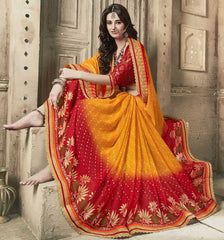 Orange & Red Color Georgette Bandhej Party Wear Sarees : Aniha Collection  YF-54706