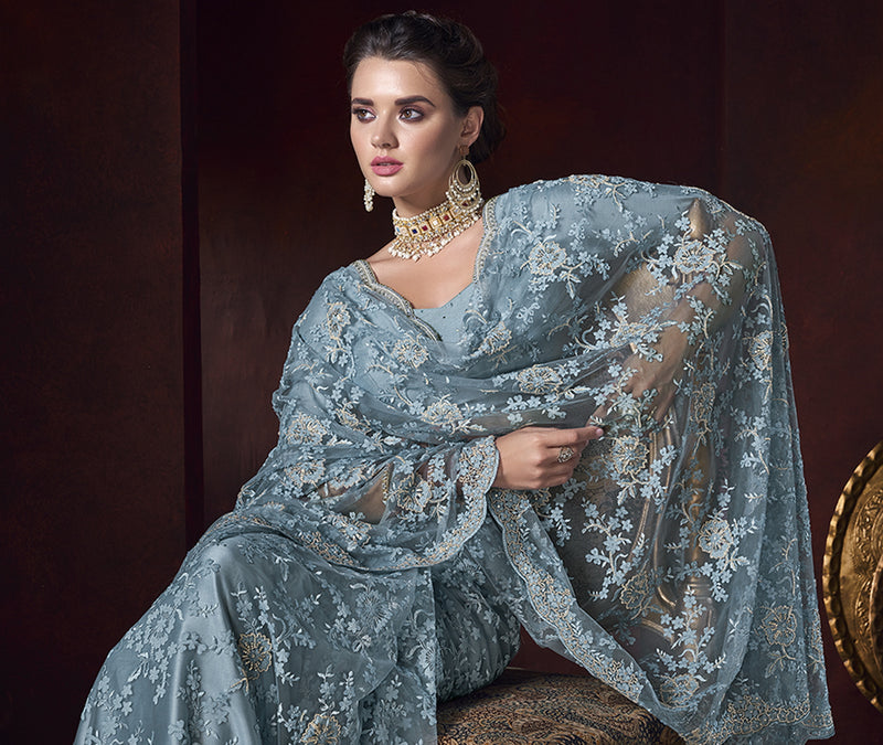 Grey Color Net Ravishing Designer Sarees NYF-5816