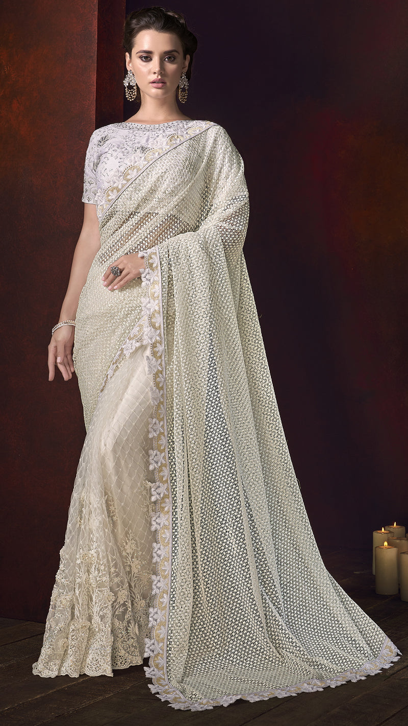 Off White Color Net Ravishing Designer Sarees NYF-5817