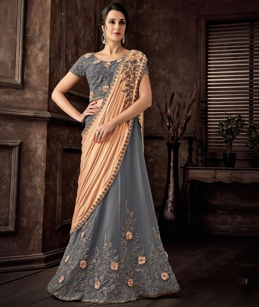 Grey & Peach Color Silk Designer Lehenga Sarees : Sadhik Collection  NYF-1735 - YellowFashion.in