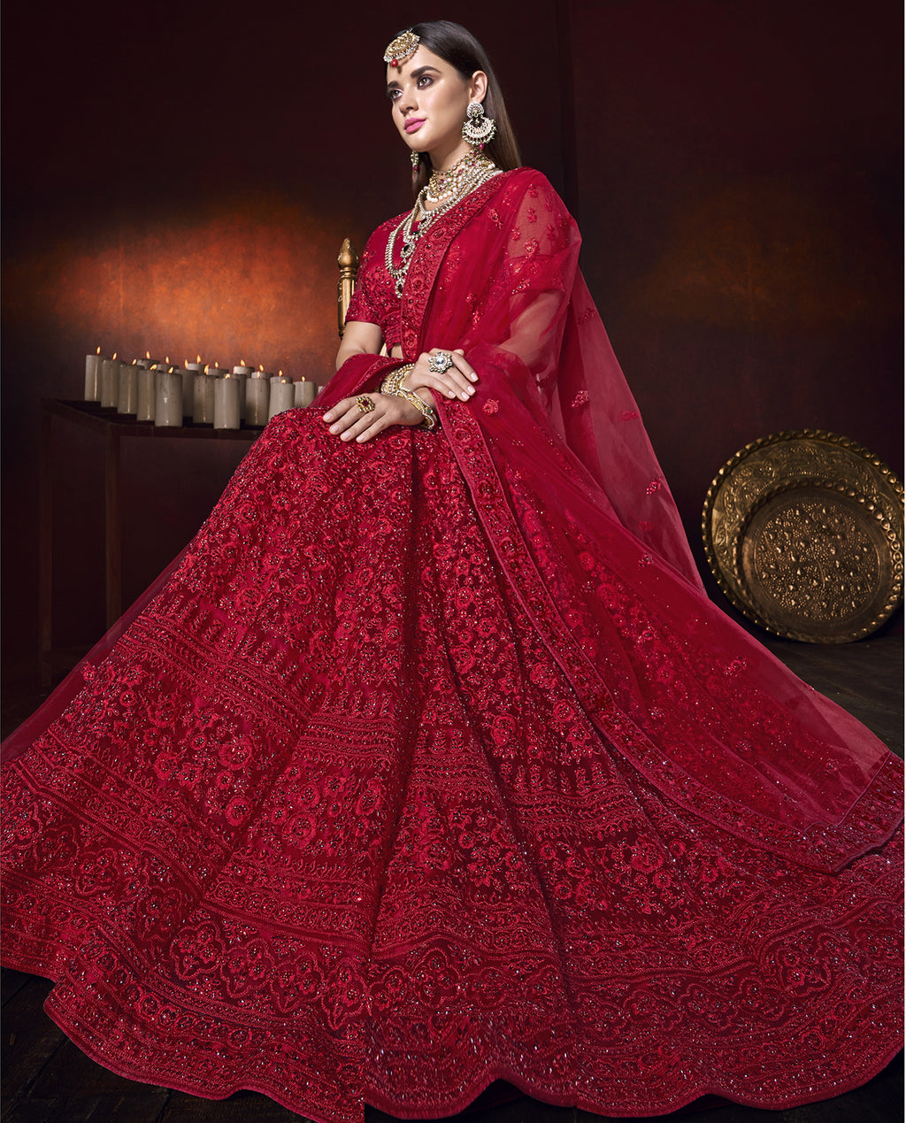 Red Color Net Ravishing Designer Lehengas NYF-5818