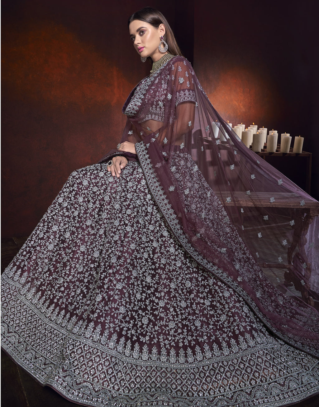Purple Color Net Ravishing Designer Lehengas NYF-5819