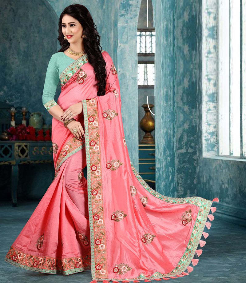 Pink Color Silk Party Wear Sarees : Pinati Collection  NYF-3380 - YellowFashion.in