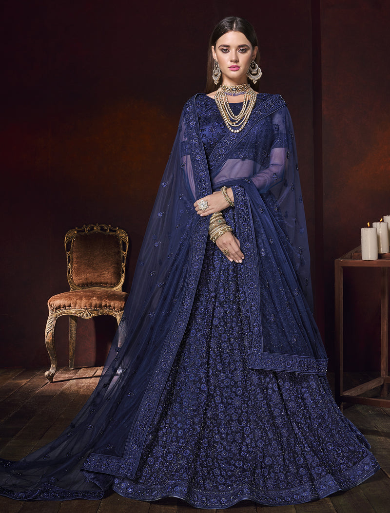 Blue Color Net Ravishing Designer Lehengas NYF-5820