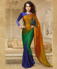 Green and Blue  Colour  Jacquard Crape  Material Designer Concept Saree :  2-in-1 Collection -  YF-14752