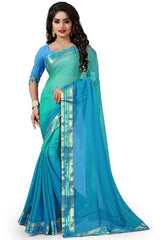 Green & Blue Color Chiffon Casual Party Sarees : Lenisha Collection  YF-51423