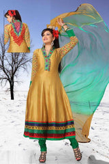 Golden and Green  Colour Chanderi cotton Readymade Salwar Suits (Size - 40-Large, 42-X-Large) : KIYA Collection -  YF-12552
