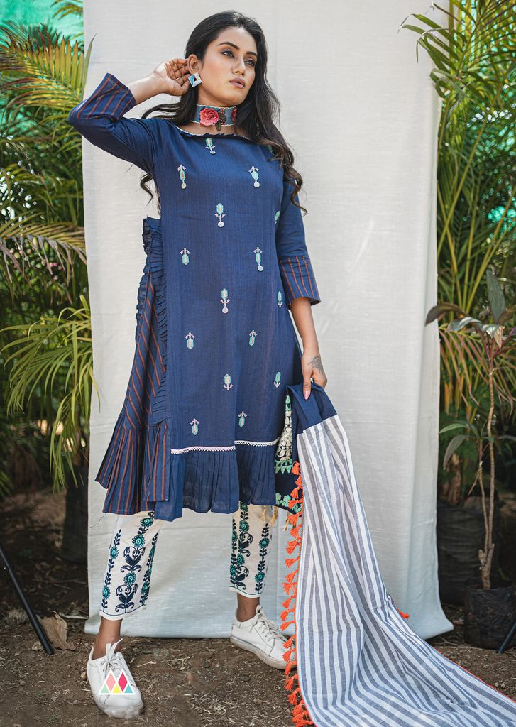Blue Color Khadi Readymade Designer Kurti With Bottom ( Sizes - 36,40): Abish Collection NYF-1974 - YellowFashion.in