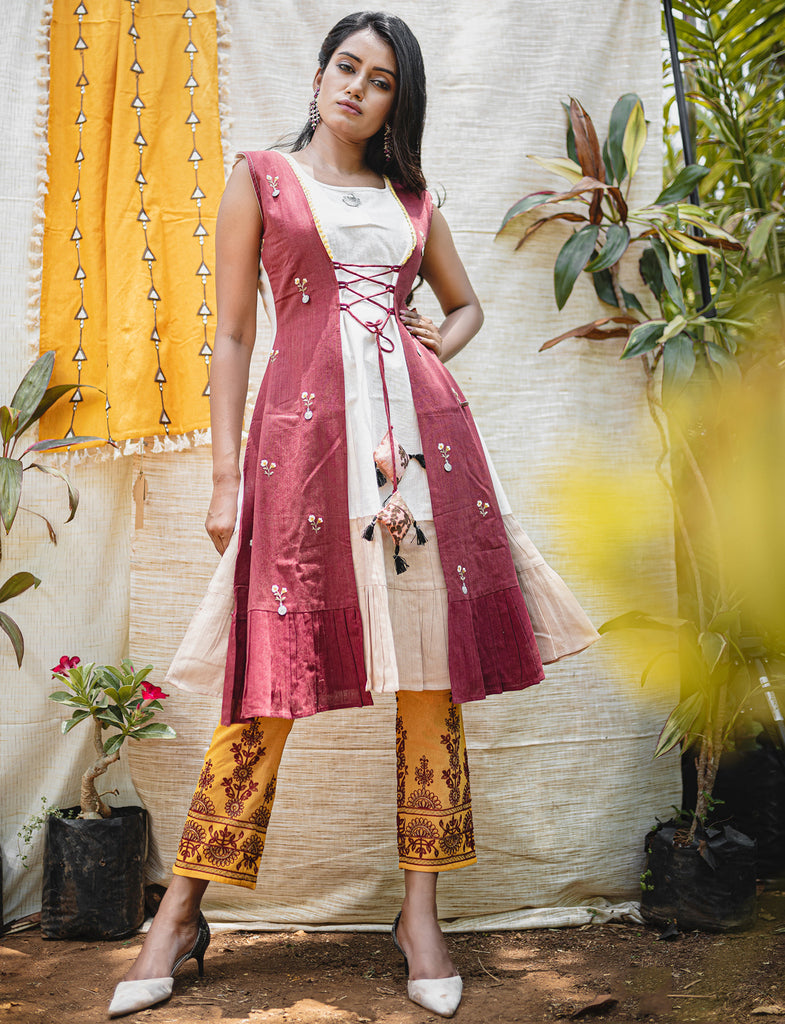 Cream & Pink Color Khadi Readymade Designer Kurti With Bottom ( Sizes - 36,40): Abish Collection NYF-1984 - YellowFashion.in