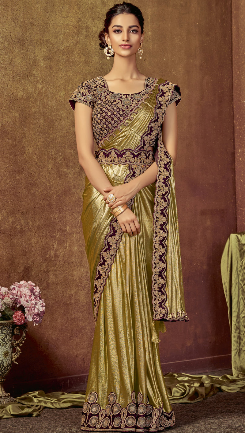 Golden Color Lycra Beautiful Party Wear Sarees NYF-6537