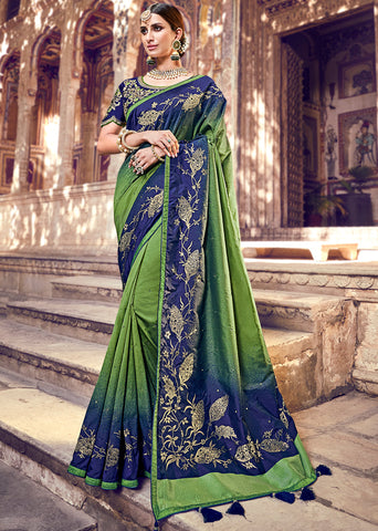 Pastel Green Color Half Net And Half Wrinkle Chiffon Designer Festive Sarees : Suniti Collection  YF-45279