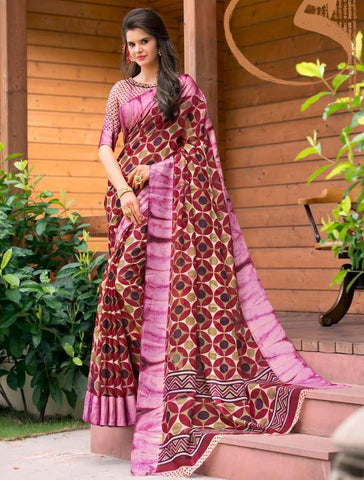 Maroon & Pink Color Soft Super Net Casual Party Sarees : Virushi Collection  YF-54883