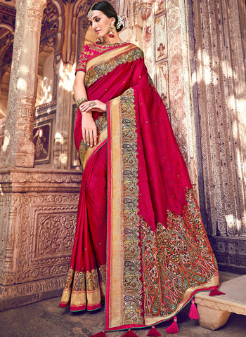 Red And Cream Color Wrinkle Chiffon Designer Festive Sarees : Suniti Collection  YF-45280