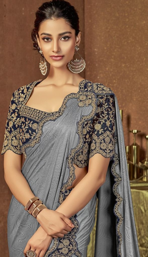 Grey Color Jacquard Silk Designer Ready To Wear Sarees : Sadhik Collection  NYF-1736 - YellowFashion.in