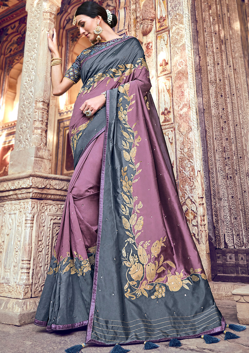 Light Purple Color Banarasi Silk Marriage Function Sarees NYF-5745