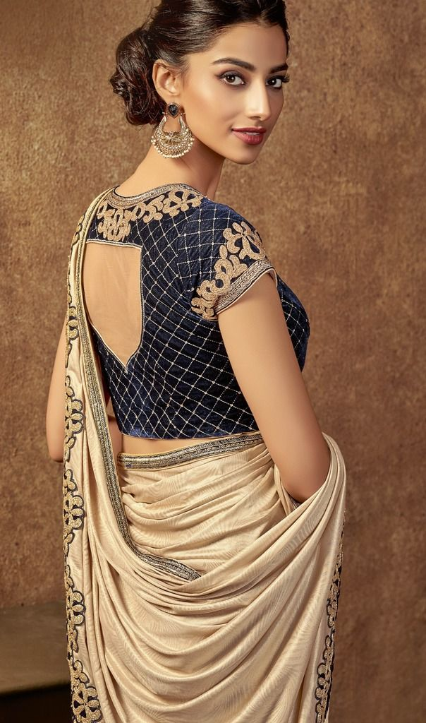 Cream Color Jacquard Silk Designer Ready To Wear Sarees : Sadhik Collection  NYF-1738 - YellowFashion.in