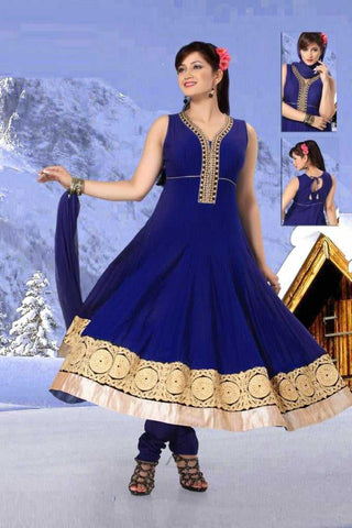 Royal blue  Colour cotton Readymade Salwar Suits (Size - 40-Large) : KIYA Collection -  YF-12556