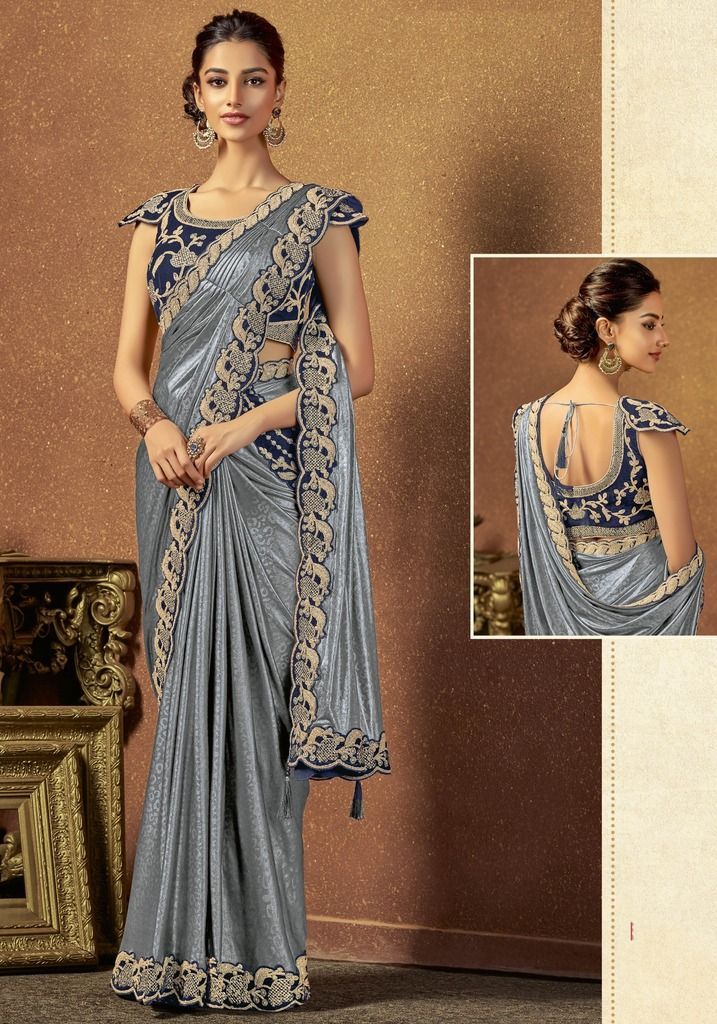 Metallic Grey Color Jacquard Silk Designer Ready To Wear Sarees : Sadhik Collection  NYF-1739 - YellowFashion.in