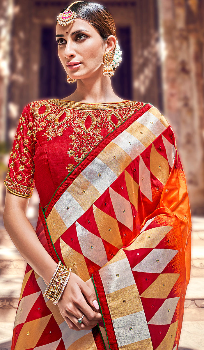 Orange Color Banarasi Silk Marriage Function Sarees NYF-5750
