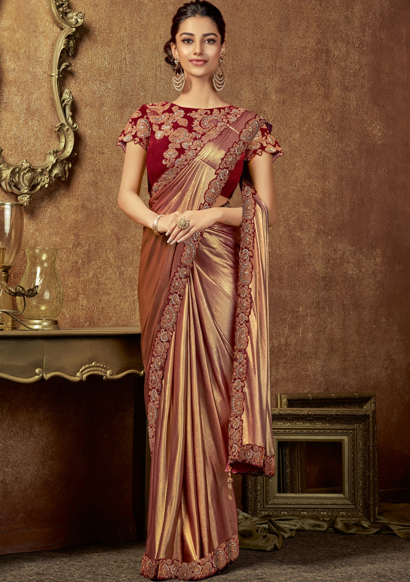 Red Color Lycra Beautiful Party Wear Sarees NYF-6538