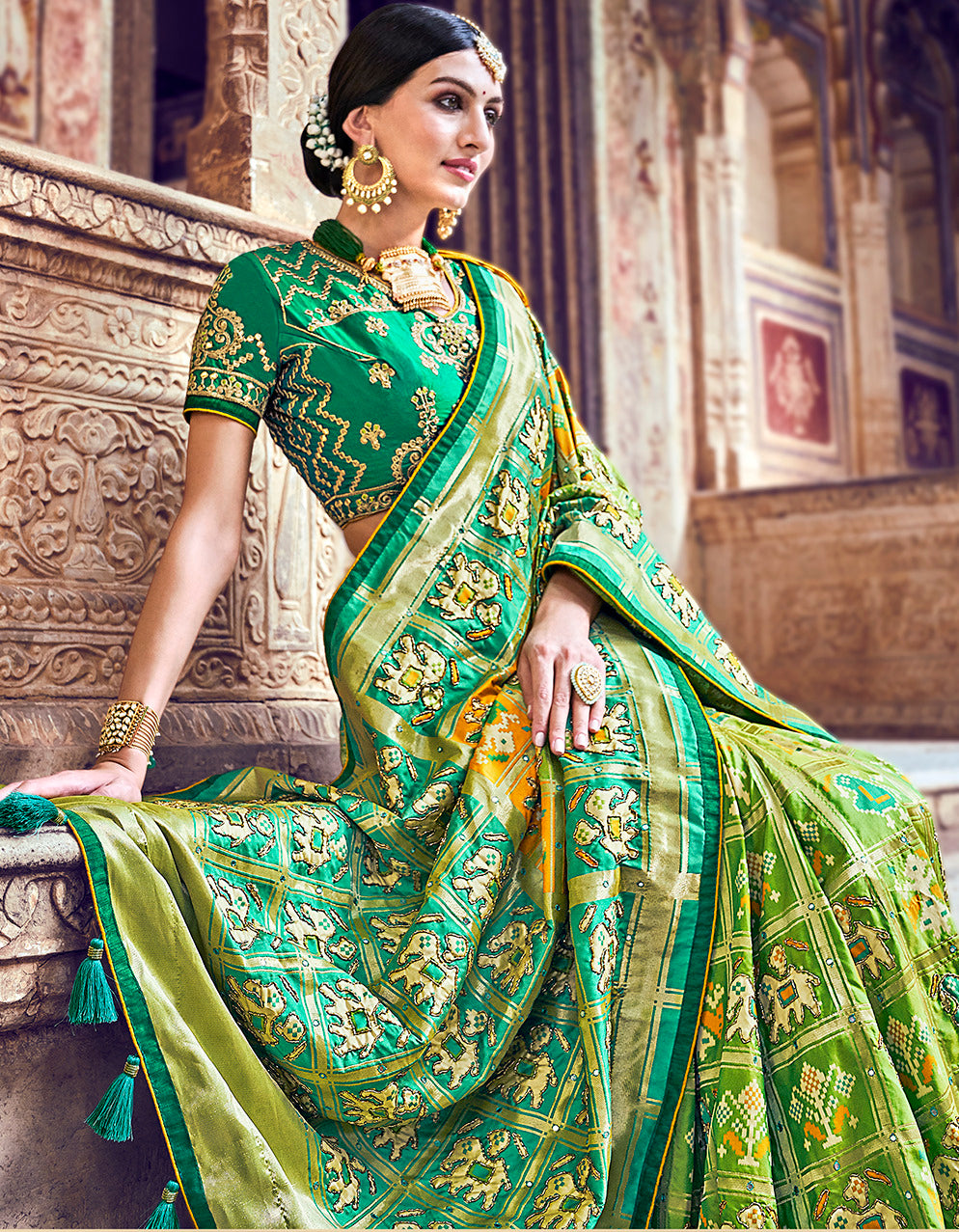 Green Color Banarasi Patola Silk Marriage Function Sarees NYF-5751