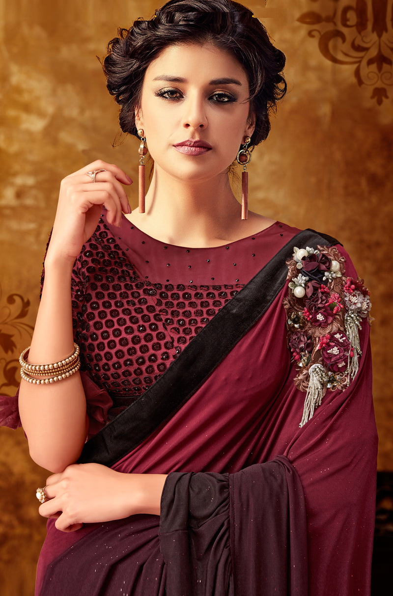 Light & Dark Maroon Color Lycra Beautiful Party Wear Sarees NYF-6536