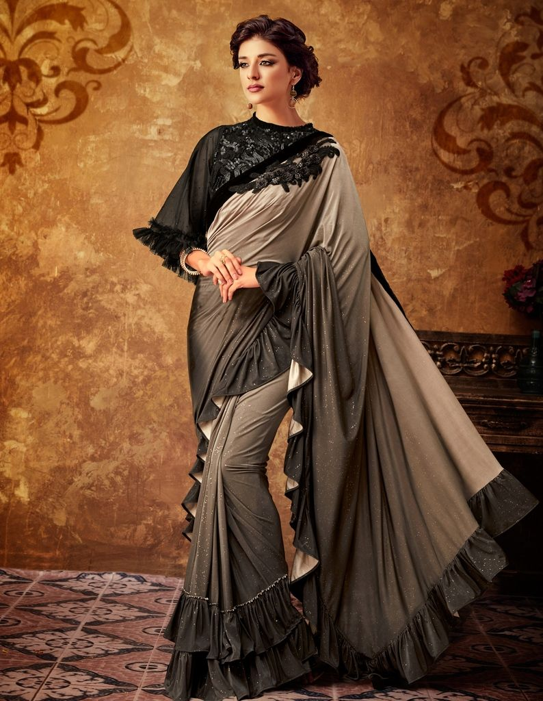 Shades Of Brown Color Satin Designer Party Sarees : Sadhik Collection  NYF-1740 - YellowFashion.in