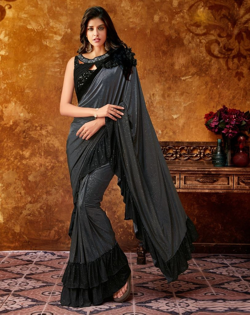 Grey Color Lycra Designer Party Sarees : Sadhik Collection  NYF-1741 - YellowFashion.in