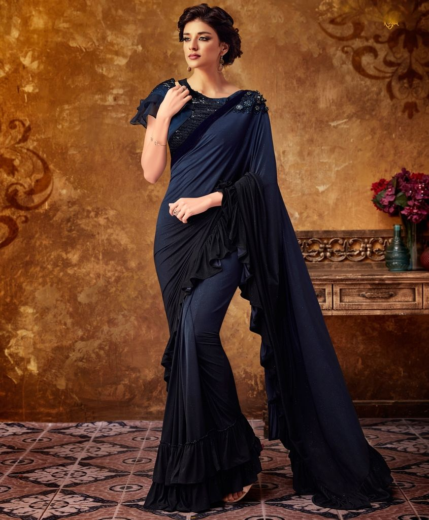 Blue Color Lycra Designer Party Sarees : Sadhik Collection  NYF-1742 - YellowFashion.in