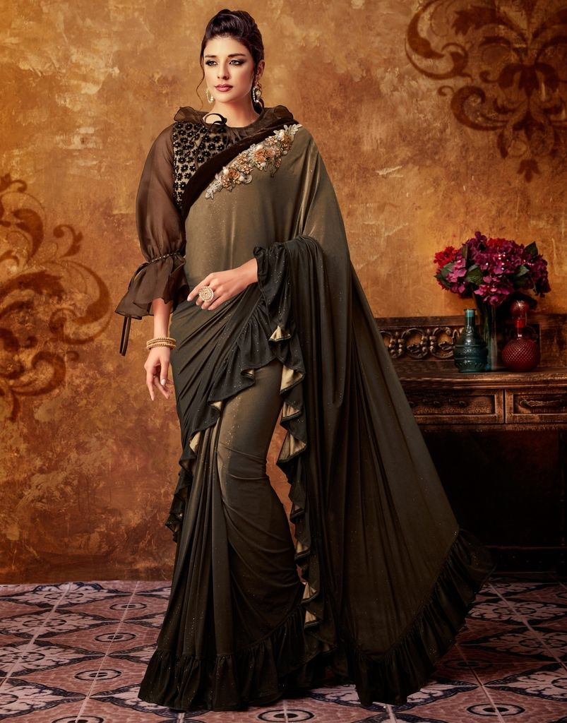 Light & Dark Brown Color Lycra Designer Party Sarees : Sadhik Collection  NYF-1743 - YellowFashion.in