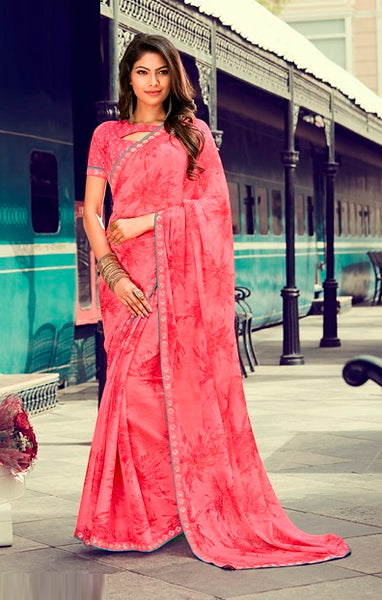 Pink Color Chiffon Casual Wear Saree -Ladli Bahu  Collection  YF#11309