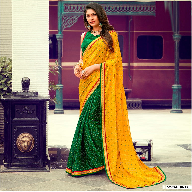 Yellow and Green Color Chiffon Casual Wear Saree -Ladli Bahu  Collection  YF#11310