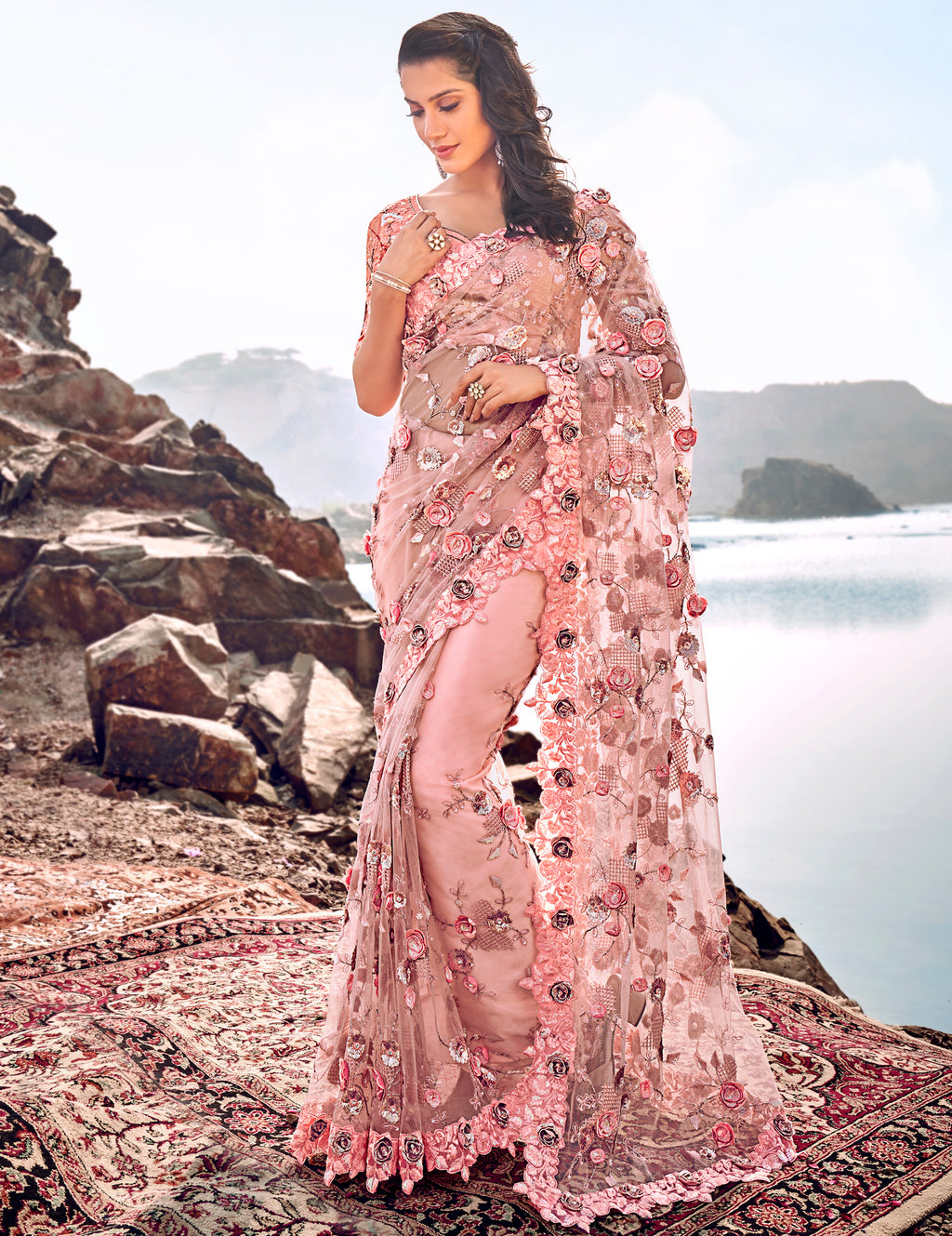 Pink Color Fancy Net Beautiful Designer Sarees NYF-5365