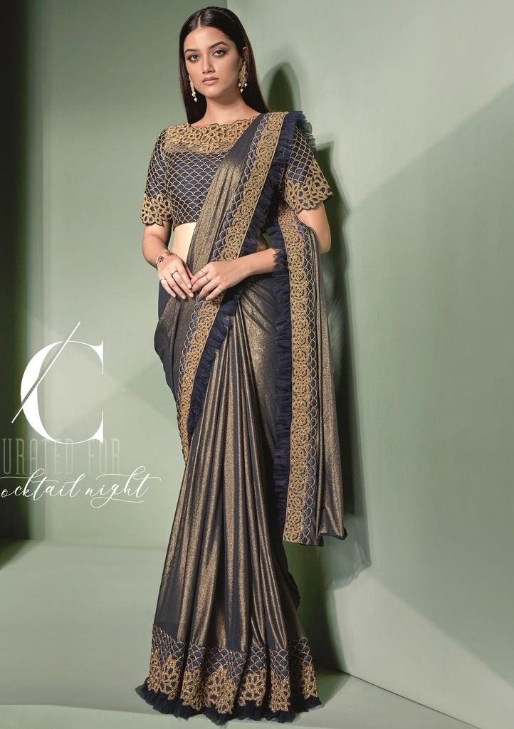 Blue & Copper Color Lycra Designer Ready To Wear Sarees : Sadhik Collection  NYF-1745 - YellowFashion.in