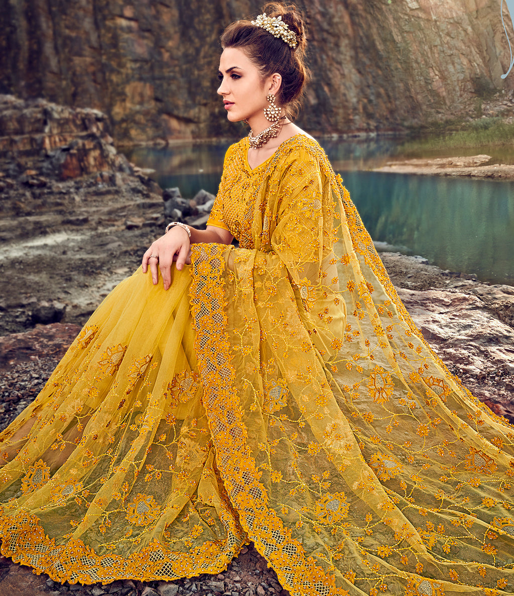 Yellow Color Fancy Net Beautiful Designer Sarees NYF-5367