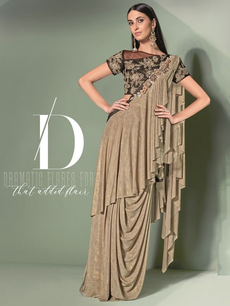 Beige Color Lycra Designer Ready To Wear Sarees : Sadhik Collection  NYF-1746 - YellowFashion.in