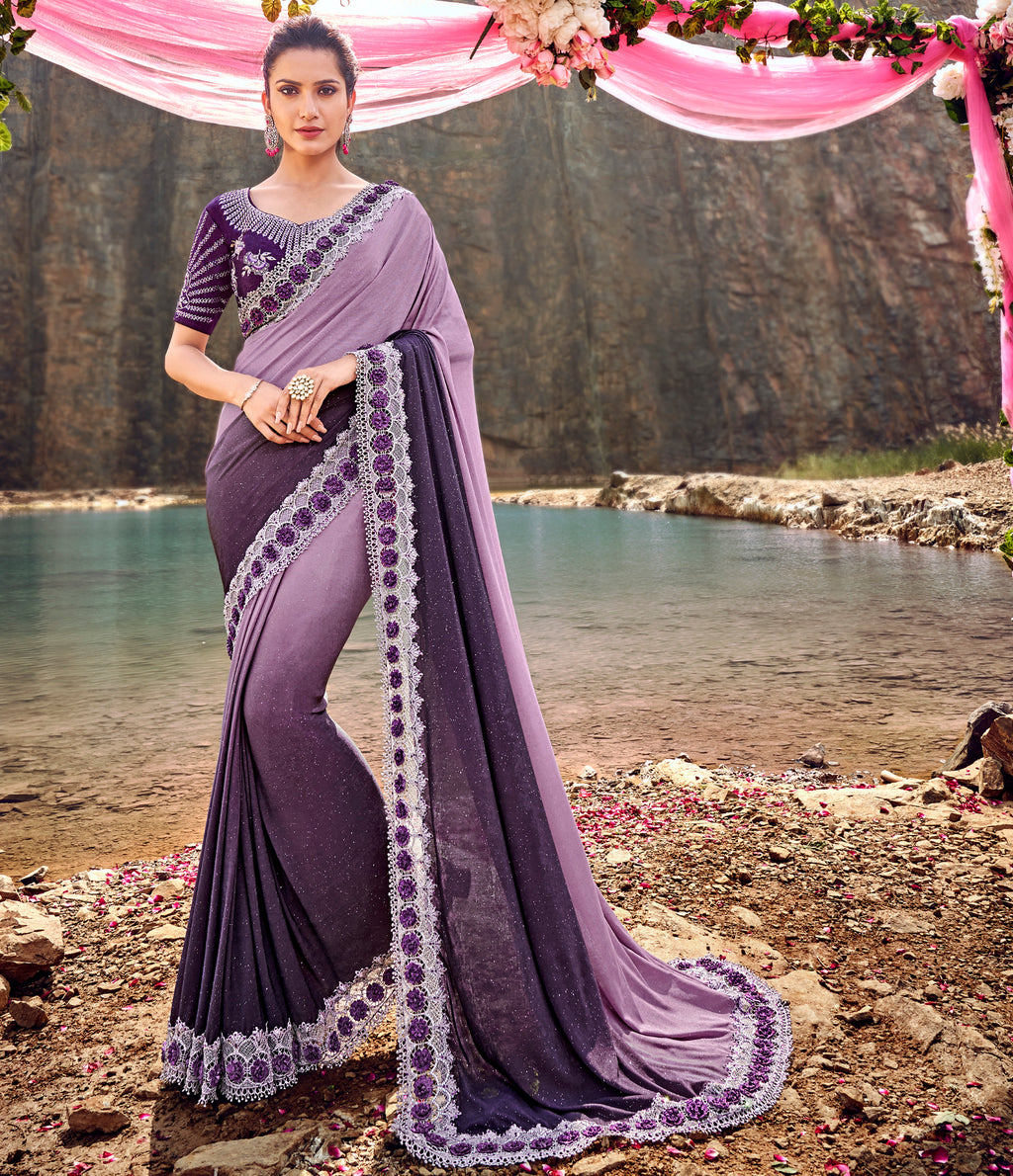Light & Dark Purple Color Silk Beautiful Designer Sarees NYF-5368