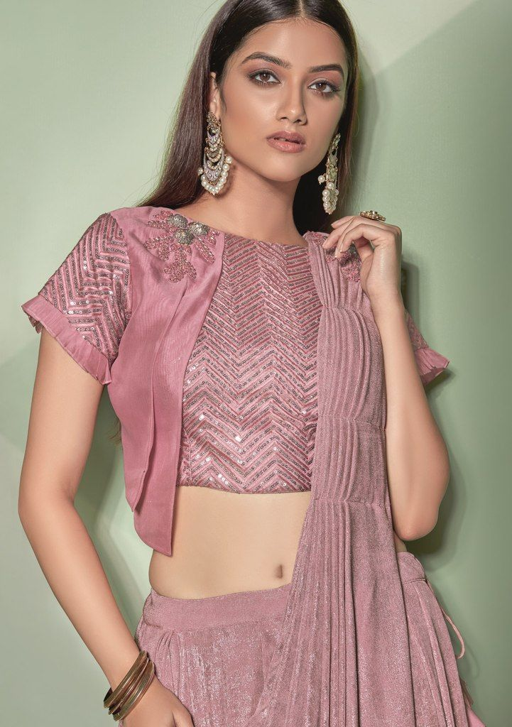 Lavender Color Lycra Designer Ready To Wear Sarees : Sadhik Collection  NYF-1747 - YellowFashion.in