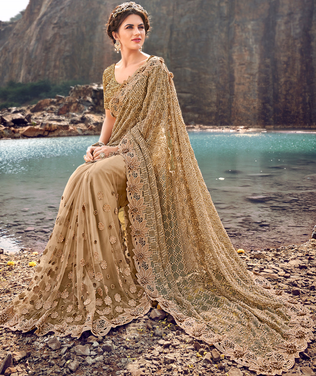 Golden Color Fancy Net Beautiful Designer Sarees NYF-5369