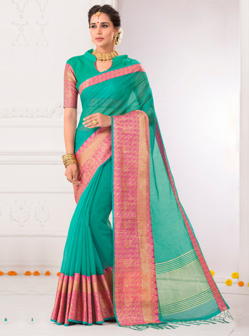 Green Color Kota Checks (Kota Chokhana Cotton) Party Wear Sarees : Vikarsh Collection  YF-58614