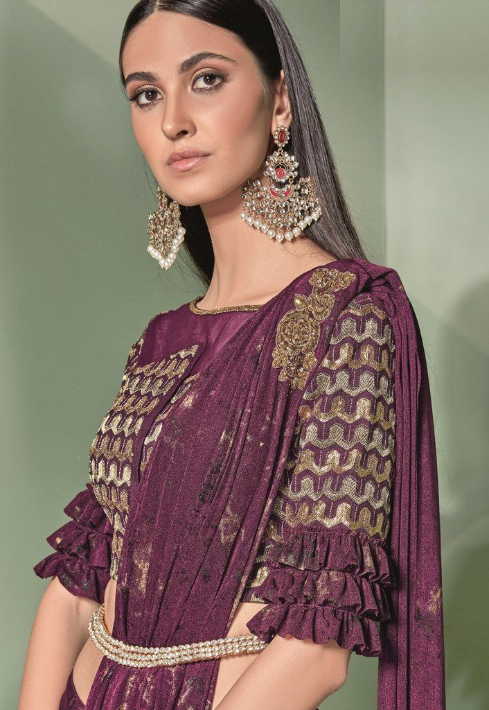 Purple Color Lycra Designer Ready To Wear Sarees : Sadhik Collection  NYF-1748 - YellowFashion.in