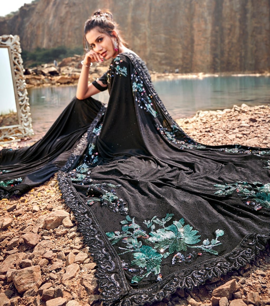 Black Color Half Crepe Silk & Half Georgette Beautiful Designer Sarees NYF-5370