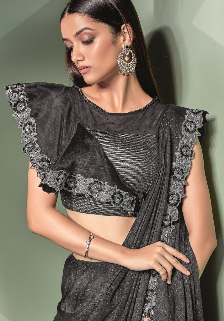 Black Color Lycra Designer Ready To Wear Sarees : Sadhik Collection  NYF-1749 - YellowFashion.in
