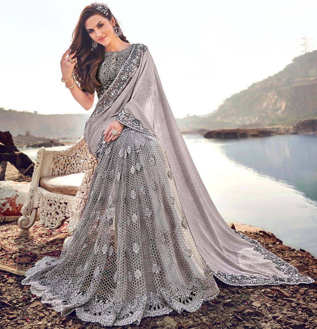 Grey Color Fancy Net Beautiful Designer Sarees NYF-5371